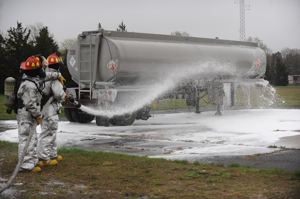 WESTHAMPTON BEACH, NEW YORK - Members of the 106th Rescue Wing's Fire Department train on various fire-suppression systems at the Suffolk County Fire Academy in Yaphank, New York on May 9th, 2014.