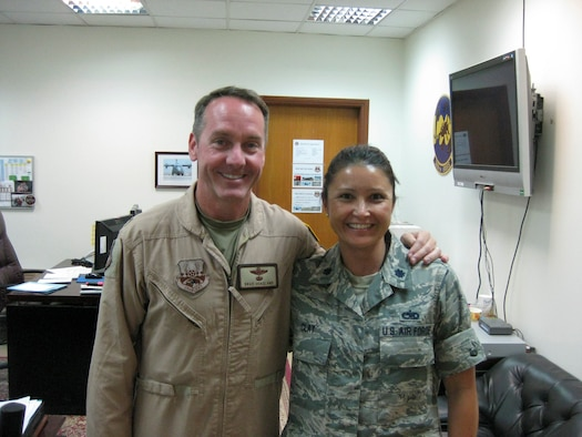 Col. Brad Hoagland and Lt. Col. Elizabeth Clay pose for a photo at the 386th Air Expeditionary Wing, Southwest Asia. Both Clay and Hoagland are from the same hometown in Elyria, Ohio and are currently serving together at the 386th AEW. (courtesy photo)