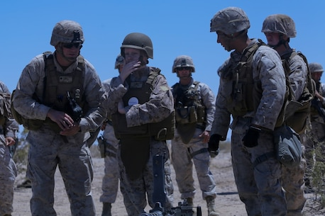 Ryan Forbes, second from left, a 13 year-old native of San Diego, talks with Marines about various weapon systems at Marine Corps Air Ground Combat Center Twentynine Palms May 13, 2014. Forbes was an honorary Marine for a day with Lima Battery, 3rd Battalion, 11th Marine Regiment, and learned about the lifestyles of the Marines. He was accompanied by his parents and brother, and attended training with the battery, learning about how to set up and take down an M777 lightweight howitzer and eating lunch with a section. Forbes has wanted to join the military for several years and spends time learning what it would take to get through boot camp. He was diagnosed with medulloblastoma, a form of brain cancer in January. His diagnosis and current treatment for medullablastoma hasnt hampered his enthusiasm for the military.