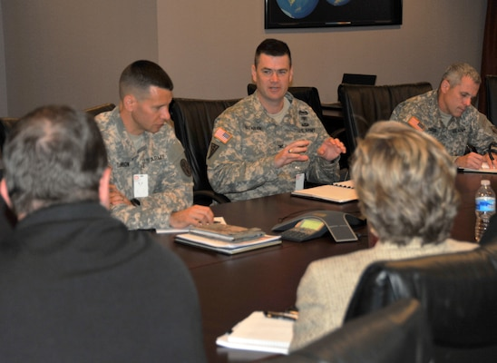 Col. Mike Brennan (center), U.S. Army Health Facility Planning Agency commander and G9 Facilities at Army Medical Command, speaks with Huntsville Center leadership during his May 13 visit.