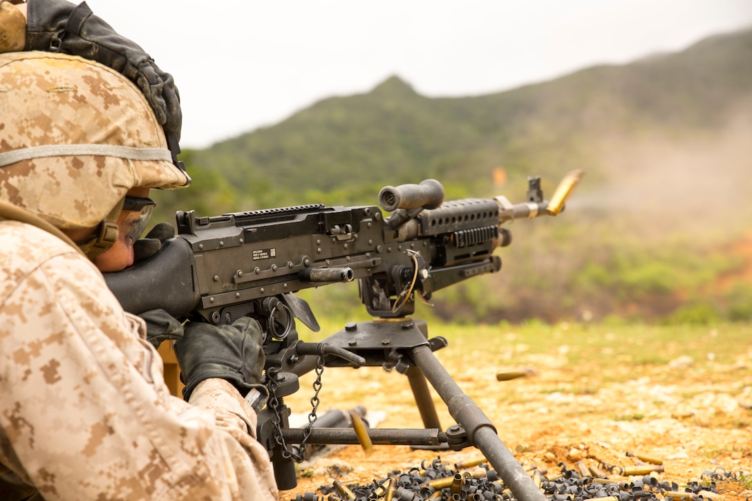 Cpl. Joseph Demonteverde fires an M240B medium machine gun May 8 in the Central Training Area during a quarterly Marine Corps common skills training evolution. The training was specifically designed for bulk fuel specialists. The Marines trained with M249 squad automatic weapons and M240B medium machine guns to provide security in a forward deployed environment. Demonteverde is a bulk fuel specialist with Bulk Fuel Headquarters Company, 9th Engineer Support Battalion, 3rd Marine Logistics Group, III Marine Expeditionary Force.