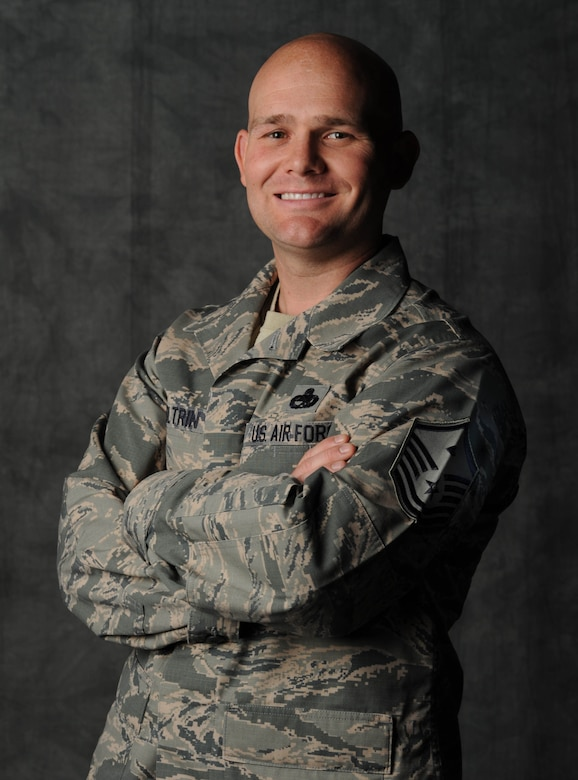 Master Sgt. Matthew Coltrin is the 509th Medical Group first sergeant at Whiteman Air Force Base, Mo. He provides guidance and direction to unit senior leadership on morale, career enhancement and discipline. (U.S. Air Force photo by Staff Sgt. Alexandra M. Boutte/Released)