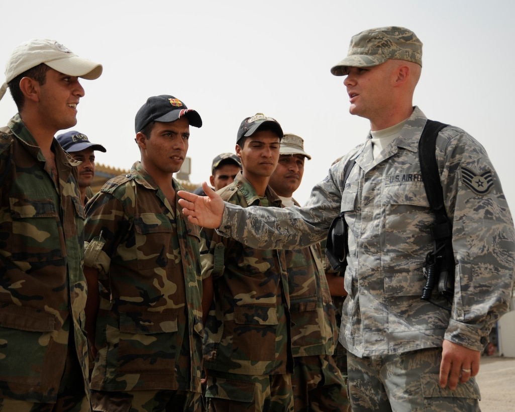 Staff Sgt. Matthew Coltrin, former Air Force Basic Military Training Instructor, deployed to Iraq as an Air Advisor in 2008. Now a master sergeant, Coltrin is the 509th Medical Group first sergeant at Whiteman Air Force Base, Mo. (Courtesy Photo)