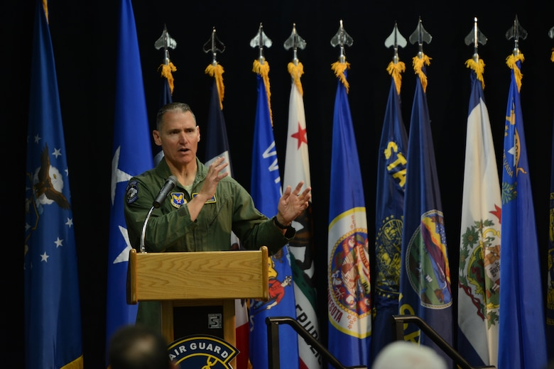 Maj. Gen. Kurt F. Neubauer, U.S. Air Force Chief of Safety and Air Force Safety Center commander, speaks to attendees of the 2014 Air National Guard Executive Safety Summit at Volk Field Air National Guard Base, Wis., May 13, 2014. The summit taught leaders about a variety of topics including social media, budget, fitness and readiness. (Air National Guard photo by Senior Airman Andrea F. Liechti)