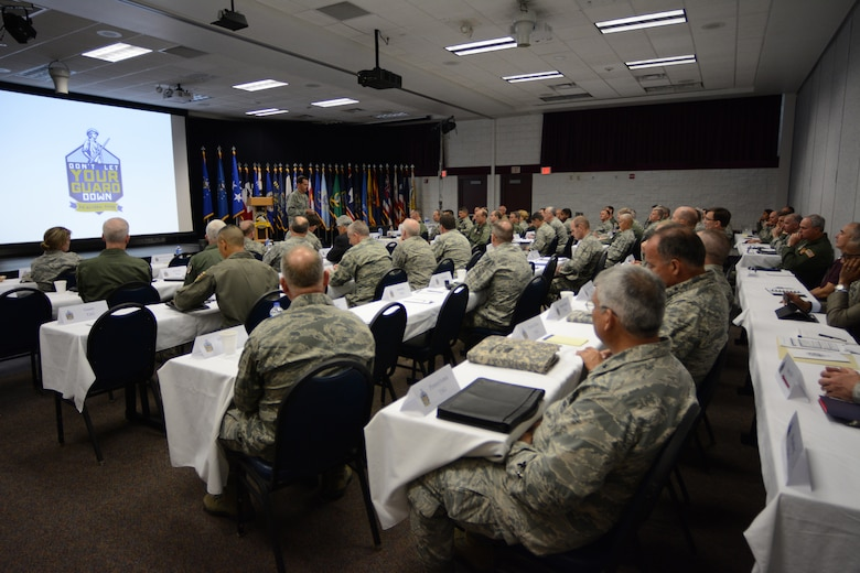Lt. Gen. Stanley E. Clarke III, Air National Guard director, speaks to general officers from around the nation during the 2014 Air National Guard Executive Safety Summit at Volk Field Air National Guard Base, Wis., May 13, 2014. The summit taught leaders about a variety of topics including social media, budget, fitness and readiness. (Air National Guard photo by Senior Airman Andrea F. Liechti)