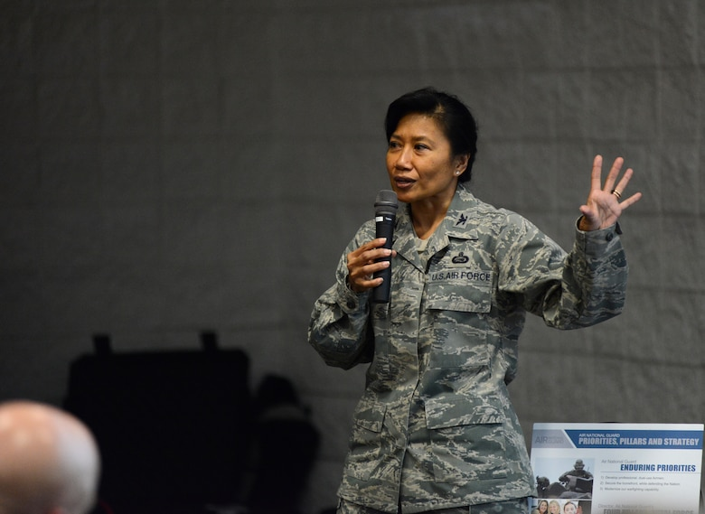 """Col. Shirley S. Raguindin addresses wing commanders on the importance of diversity at the 2014 Executive Safety Summit, held at Volk Field Combat Readiness Training Center, Wis., May 13-14, 2014. This year's theme: """"Leaders: Don't Let Your Guard Down,"""" covers a wide range of topics including safety, resilience,diversity and mishap prevention. (U.S. Air National Guard photo by Senior Airman John E. Hillier/Released)"""