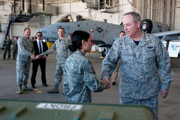 Gen. Mark A. Welsh III, U.S. Air Force Chief of Staff, is briefed by Tech.  Sgt. Susana A. Barroso, 212th Command and Control Squadron, on the Idaho  National Guard's Joint Incident Site Communications Capability equipment at  Gowen Field in Boise, Idaho, May 2, 2014. (Air National Guard photo by Master  Sgt. Becky Vanshur)