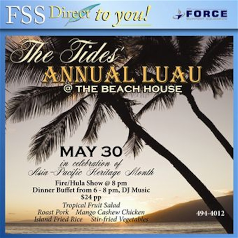 The Tides Annuual Luau at the Beach House May 30 from 6-8 p.m.