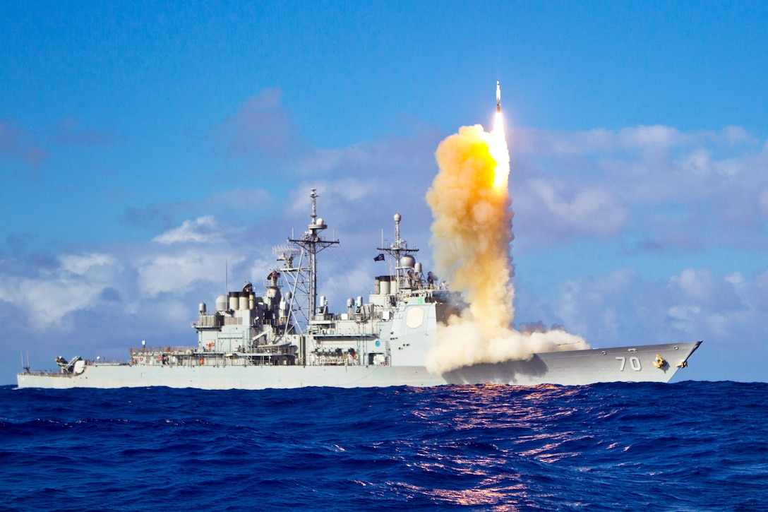 A Standard Missile-3 Block 1B interceptor missile launches from the guided-missile cruiser USS Lake Erie during a Missile Defense Agency and U.S. Navy test in the Pacific Ocean, May 16, 2013.
