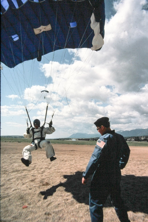 Wings of Blue team member performing a landing in the 1980's. (Courtesy Photo)
