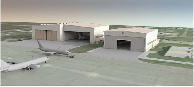 Several projects will break ground at McConnell Air Force Base, Kan., in the upcoming weeks, including construction of one- and two-bay hangars like those depicted in this rendering. The construction is part of the beddown effort for the Air Force's new fleet of KC-46A aerial tankers, expected to arrive in 2016. (Courtesy graphic)