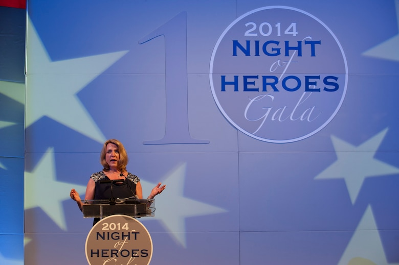 Secretary of the Air Force Deborah Lee James gives her acceptance and keynote speech May 14, 2014, during the PenFed Foundation's Night of Heroes Gala. James was awarded the American Hero Award for her 30 years of work in the private and government sectors. (U.S. Air Force photo/Staff Sgt. Carlin Leslie)