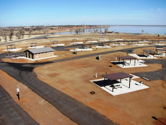 "A view of the new facilities at the Canadian ""A"" campground at Canton Lake. The pads, shower and toilet facility, and playground were rebuilt after a tornado churned through the area May 24, 2011, destroying the previous facilities."