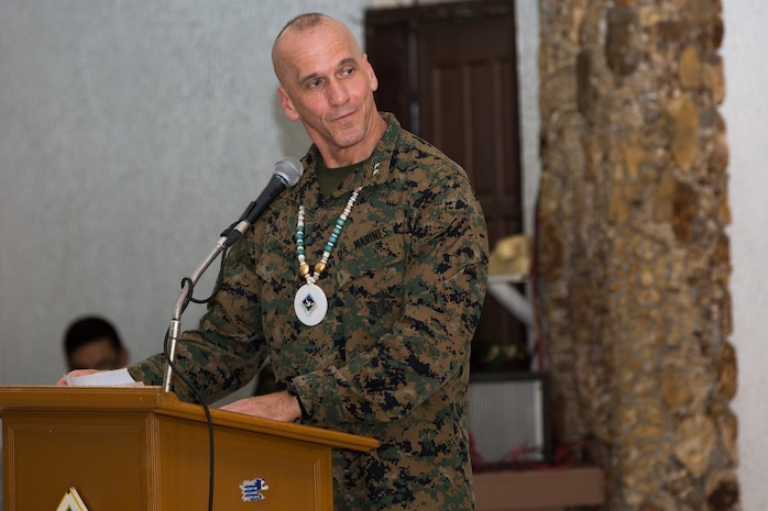Maj. Gen. Richard B. Simcock II, deputy commander of U.S. Marines Corps Forces, Pacific, gives a speech during the Urban Search and Rescue training closing ceremony at Camp Lapu Lapu, Cebu, Philippines, May 13, 2014. During the USAR training, the Armed Forces of the Philippines, Soldiers from the Hawaii Army National Guard, members of the Philippine National Red Cross and other local government agencies focused on techniques needed for urban search and rescue missions that arise from natural disasters.
