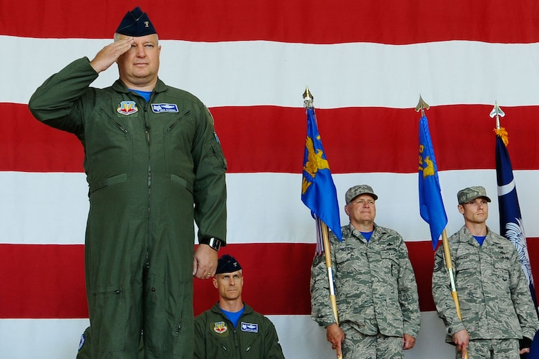 U.S. Air Force Col. Michael Manning receives his final salute from the men and women of the 169th Fighter Wing and the South Carolina Air National Guard, during a change of command ceremony at McEntire Joint National Guard Base, S.C., May 3, 2014. He relinquished command of the 169th Fighter Wing to Col. David Meyer. (U.S. Air National Guard photo by Tech. Sgt. Jorge Intriago/Released)