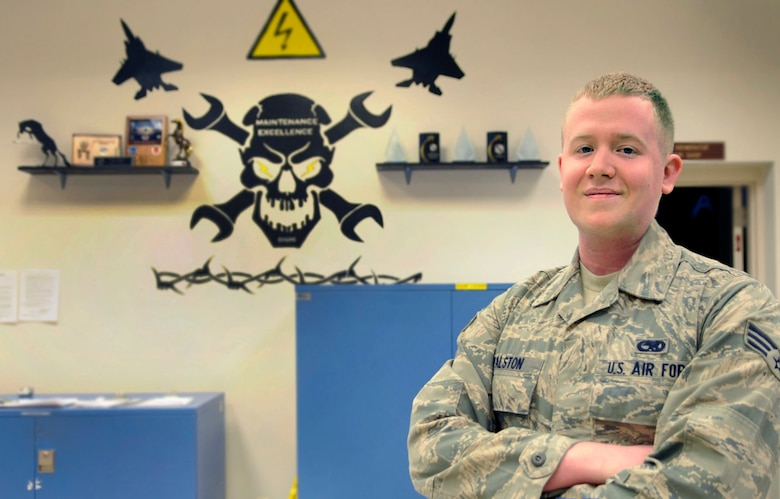 Senior Airman Robert Walston, 366th CMS aircraft electrical environmental journeyman, poses for a photo, May 8, 2014 at Mountain Home Air Force Base, Idaho. During a night out, Walston prevented a possible Assault. (U.S. Air Force photo by Senior Airman Caitlin Guinazu/Released)