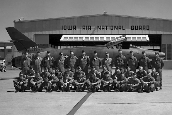 F-100 pilots from the 185th Tactical Fighter Group pose in front an F-100 Super Saber at the Air National Guard Base in Sioux City, Iowa. The 174th Tactical Fighter Squadron was activated and sent to Vietnam in January 1968 and returned to Sioux City in May 1969. The photo was taken prior to 1968.