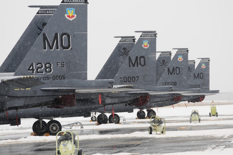 Aircraft assigned to the 428th Fighter Squadron sit on the flight line Oct. 16, 2012, at Eielson Air Force Base, Alaska. Due to safety concerns all flights for the second round of the RED FLAG-Alaska 13-1 exercise were cancelled until the extreme weather passed. The RSAF train and are stationed at Mountain Home Air Force Base, Idaho, under the Peace Carvin V agreement, which celebrated its 5th anniversary May 16, 2014. (U.S. Air Force photo/Senior Airman Benjamin Sutton/RELEASED)