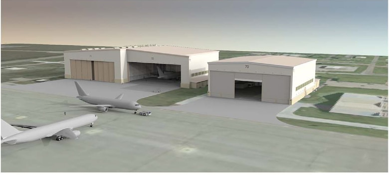 JOINT BASE SAN ANTONIO-LACKLAND, Texas – Several projects will break ground at McConnell Air Force Base, Kan., in the upcoming weeks, including construction of one- and two-bay hangars like those depicted in this rendering. The construction is part of the beddown effort for the Air Force's new fleet of KC-46A aerial tankers, expected to arrive in 2016. (Courtesy graphic)
