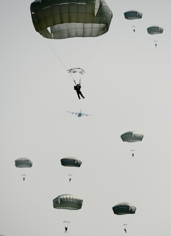 Parachutists descend toward the ground as a C-130 Hercules flies off into the distance during International Jump Week at the Alzey landing zone, Germany. More than 300 jumpers from nine different nations performed a total of 404 static-line jumps and 132 high altitude low-opening jumps in three days. (U.S. Air Force photo/Airman 1st Class Michael Stuart)