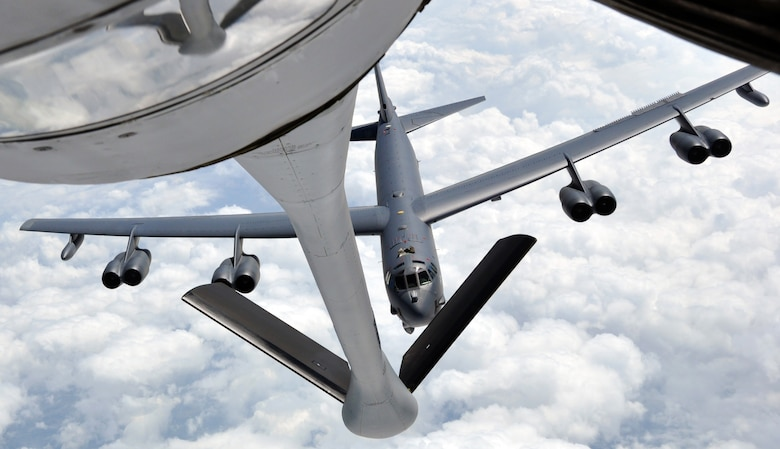 A B-52 Stratofortress approaches the refueling boom of a KC-135 Stratotanker during an air refueling training exercise May 12, 2014, in the sky over west Texas. The two Air Force Reserve aircrews practiced air refueling techniques to maintain proficiency. The B-52 is assigned to the 307th Bomb Wing, at Barksdale Air Force Base, La., and the KC-135 is from the 931st Air Refueling Group, at McConnell Air Force Base, Kan. (U.S. Air Force photo/Capt. Zach Anderson)