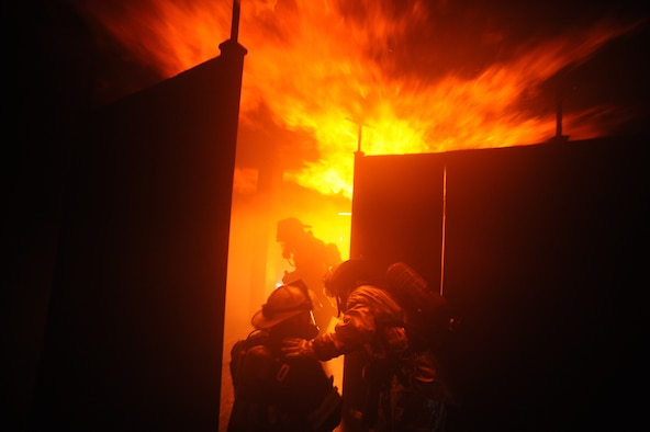 Members of the 106th Rescue Wing's fire department train on various fire-suppression systems at the Suffolk County Fire Academy in Yaphank, N.Y. (Air National Guard photo/Tech. Sgt. Monica Dalberg)