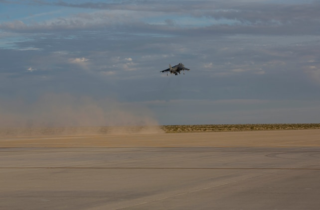 An AV-8B Harrier with Marine Attack Squadron 214 takes off at the new Auxiliary Landing Field (ALF) facility at MCAS Yuma, Ariz., Feb. 24.The auxiliary landing filed is designed for pilots to practice filed-carrier landing, which is required before they can land on ships.