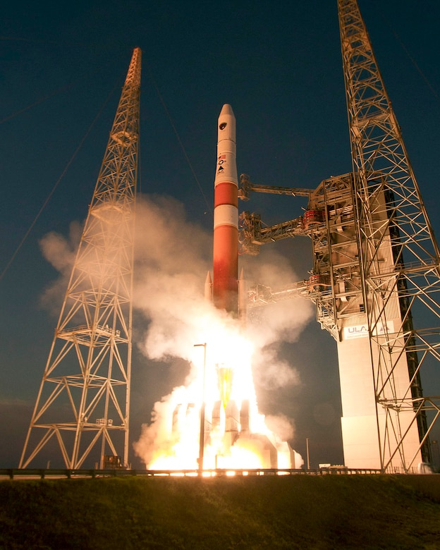 A Delta IV rocket lifts GPS IIF-6 into space from Cape Canaveral Air Force Station, Fla., May 16. GPS IIF-6 is the sixth in a series of 12 next generation GPS satellites. The GPS IIF series provides improved accuracy and enhanced performance for GPS users. (Photo courtesy of United Launch Alliance)
