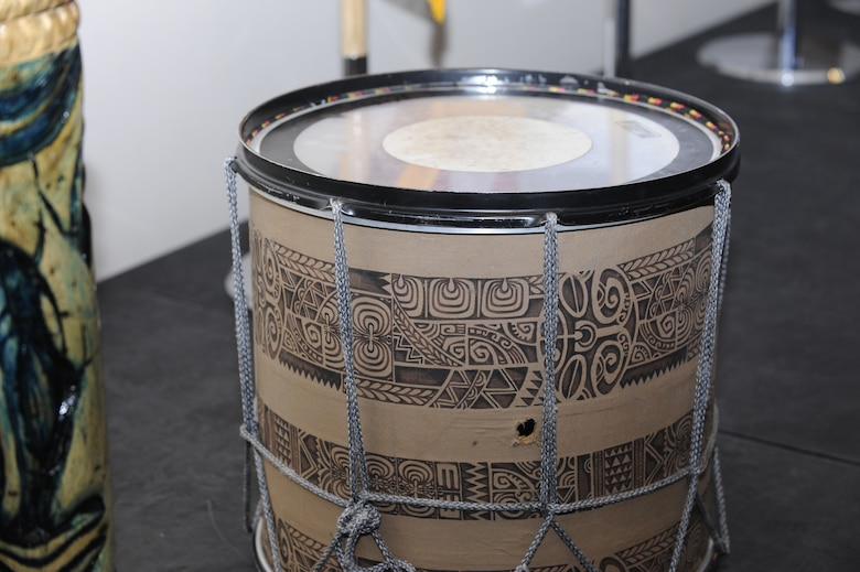 Two traditional pacific island drums sit on display during Buckley's Asian-American Pacific Islander Heritage Month Celebration May 14, 2014, at the leadership development center on Buckley Air Force Base, Colo. The ceremony included a guest speaker, traditional pacific island and Asian food samples, and dances performed by the Polynesian dance troupe, Halau Kalama. (U.S. Air Force photo by Airman 1st Class Samantha Saulsbury/Released)