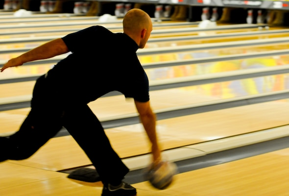 Air Force Staff Sgt. Kyle Wilkes, All-Air Force Bowling Team, competes against the All-Army and All-Navy Bowling Teams during the 2014 Armed Forces Bowling Championship at Joint Base Lewis-McChord, Wash., May 16.