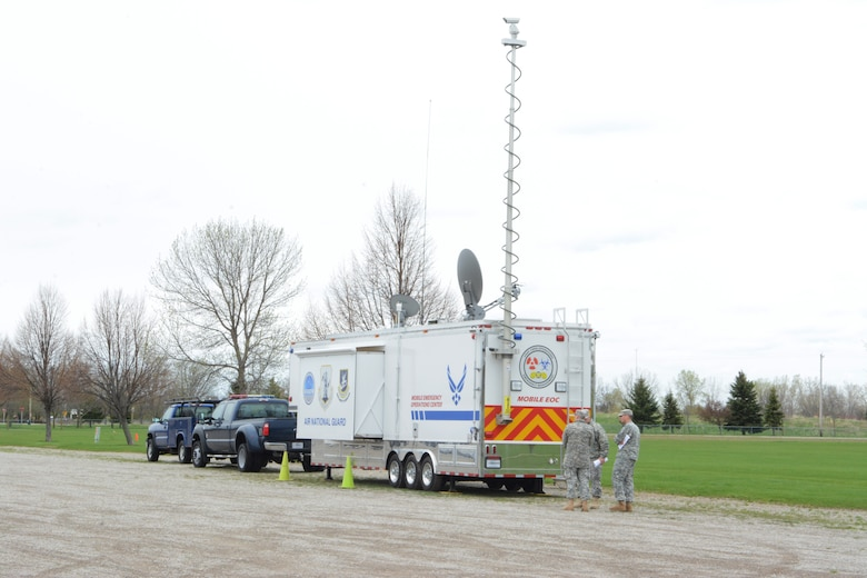 The Air National Guard's Mobile Emergency Operations Center was brought in from Peoria, Ill. for the 2014 State Interoperable Mobile Communications Exercise in the parking lot of the Sunnyview Exposition Center in Oshkosh, Wis., May 15, 2014. The MEOC serves as a go-to should anyone have trouble making their radio communication connections. (Air National Guard photo by Senior Airman Andrea F. Liechti)