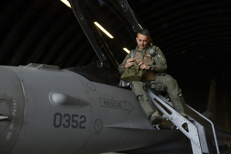U.S. Air Force Col. David Julazadeh, 52nd Fighter Wing commander, boards a U.S. Air Force F-16 Fighting Falcon fighter aircraft, May, 20, 2014, at Spangdahlem Air Base, Germany. Julazadeh has been the 52nd FW commander for two years and bode farewell during his last flight as a saber. (U.S. Air Force photo by Staff Sgt. Christopher Ruano/Released)