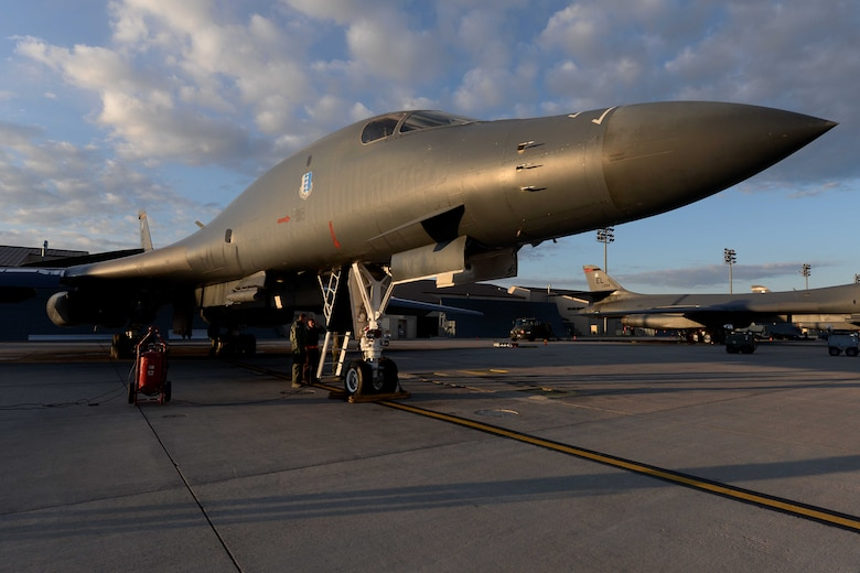 Aviators and maintainers perform final checks on a B-1B Lancer, May 12, 2014 on the flightline at Ellsworth Air Force Base, S.D. The 28th Bomb Wing generated two B-1s in support of a round trip, non-stop training mission from Ellsworth to employ munitions on a range near Guam, demonstrating the long-range, precision strike capabilities of the aircraft. (U.S. Air Force photo by Airman 1st Class Rebecca Imwalle/Released)