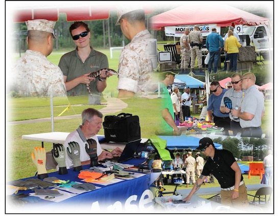 Marines and civilian-Marines visit various static displays and vendors during Marine Corps Logistics Command's 101 Critical Days of Summer safety stand-down May 14 at Covella Pond aboard Marine Corps Logistics Base Albany. The attendees learned the various hazards associated with summer activities both on and off the job.