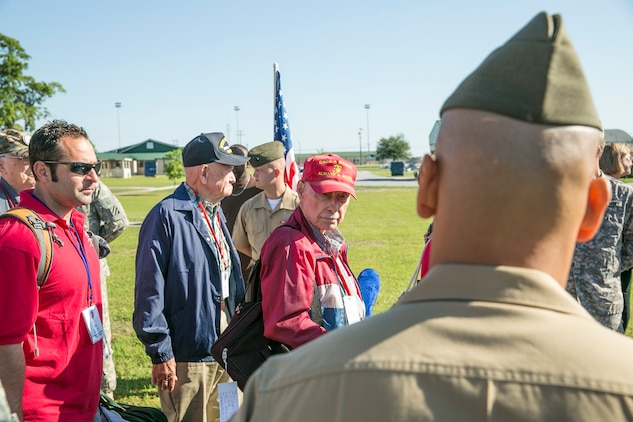 In an act of respect to those who gave so much, service members from the Tri-Command met with WWII, Korean War, and Vietnam veterans to speak about military times at the 165th Airlift Wing, Georgia Air National Guard installation, Pooler, Ga., May 16. The service members spoke with the veterans prior to their departure for Washington, D.C., as part of the Honor Flight's initiative of getting as many WWII, Korean War, and Vietnam Veterans as possible to Washington D.C.