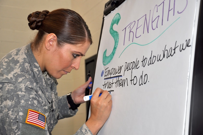 Army Spc. Ciara Laboy takes notes during a group discussion about empowering members of the Arizona National Guard to reach their full potential at a commanders' summit in Phoenix, May 15. The Arizona Adjutant General Maj. Gen. Michael McGuire asked leaders to think creatively about inspiring members to seize opportunities and not settle for mediocrity. (National Guard photo by Air Force Maj. Gabe Johnson)