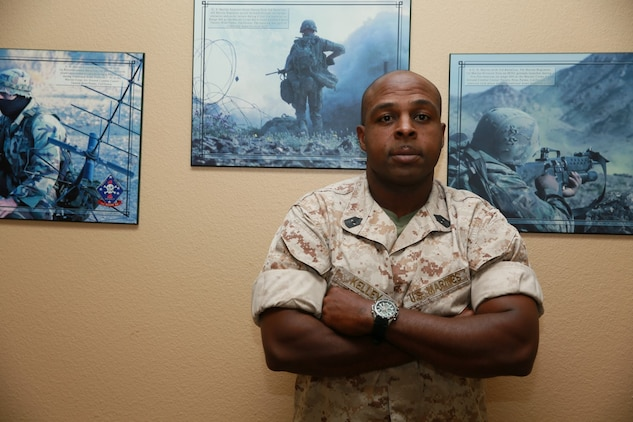 Master Gunnery Sgt. Torain Kelley, operations chief, 15th Marine Expeditionary Unit, from Fort Worth, Texas, has developed his own leadership style during his 25 years in the Marine Corps. His determination to be the best he can be and his drive for success has set him apart from his peers and molded him into an inspiring Marine and leader. (U.S. Marine Corps photo by Lance Cpl. Anna Albrecht/Released)