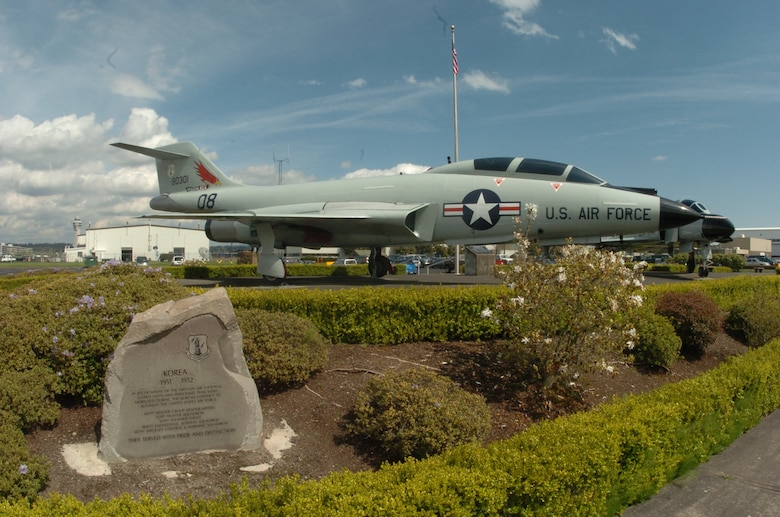 The Oregon ANG Memorial Park, with view featuring the Korean War memorial and the F-101B Voodoo flown by the 142nd Fighter Wing. (Air National Guard photo by Tech. Sgt. John Hughel, 142nd Fighter Wing Public Affairs)