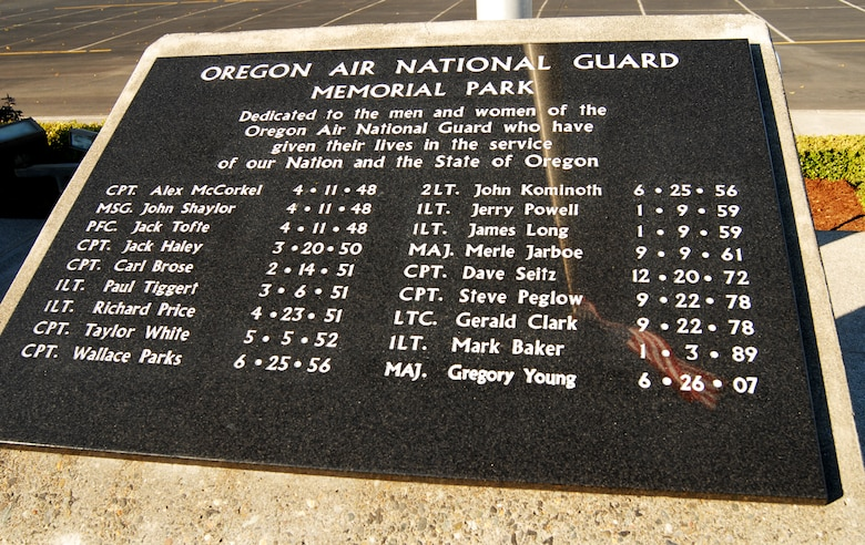 The Oregon ANG Memorial Park featuring 18 names of Oregon Airmen. (Air National Guard photo by Tech. Sgt. John Hughel, 142nd Fighter Wing Public Affairs)