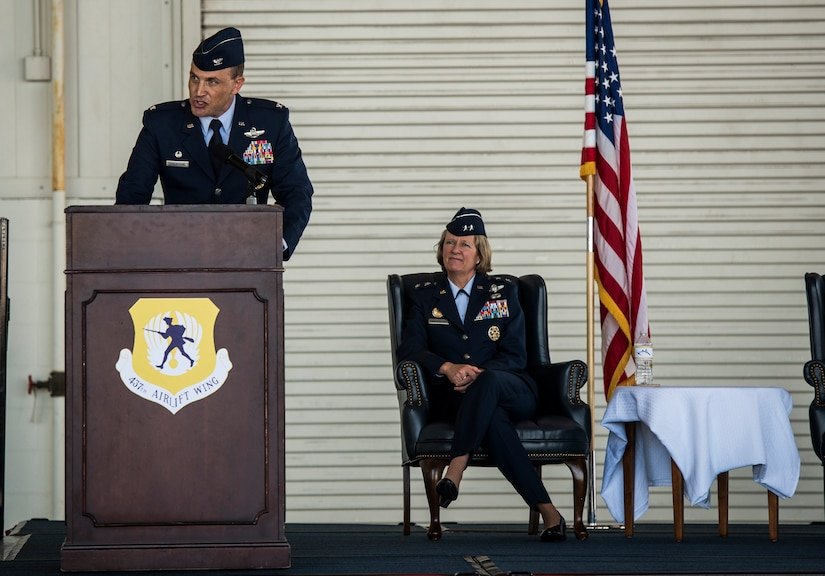 Col. John Lamontagne addresses members of the 437th Airlift Wing and invited guests for his first time as the new commander of the 437th AW May 22, 2014, in Nose Dock 2 at Joint Base Charleston - Air Base, S.C. (U.S. Air Force photo/Senior Airman Dennis Sloan)