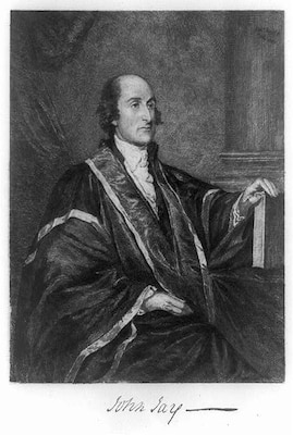 A portrait of John Jay in his role as the first Chief Justice of the Supreme Court of the United States.