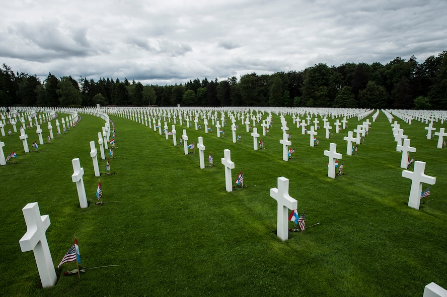 Fallen World War II service members are remembered and honored during a Memorial Day ceremony at the Luxembourg-American Military Cemetery and Memorial, Luxembourg, May 24, 2014. The cemetery and memorial is the resting place for more than 5,000 U.S. service members, including U.S. Army Gen. George S. Patton. (U.S. Air Force photo by Staff Sgt. Christopher Ruano/Released)