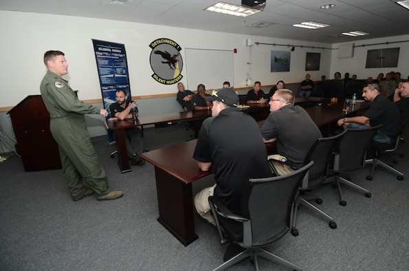 Maj. Sinclair Lagergren, 69th Reconnaissance Group, Detachment 1 director of operations, briefs members of the 69th RG prior to their deployment to Misawa Air Base, Japan, May 15, 2014, from Andersen Air Force Base, Guam. The detachment is deploying to Misawa to continue providing intelligence, surveillance and reconnaissance support in the Pacific during Guam's rainy season. (U.S. Air Force photo by Airman 1st Class Emily A. Bradley/Released)