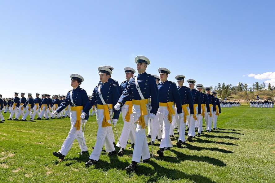 Cadets from the Class of 2014 march in the Graduation Parade May 27. (U.S. Air Force Photo/Sarah Chambers)