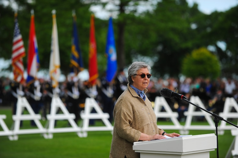 Anne Roosevelt, granddaughter of former U.S. President Franklin Roosevelt and board chair for the Roosevelt Institute, speaks during a Memorial Day ceremony at the Netherlands American Cemetery May 25, 2014, Margraten, Netherlands. Roosevelt was one of the many guest speakers at the ceremony. (U.S. Air Force photo by Senior Airman Rusty Frank/Released)