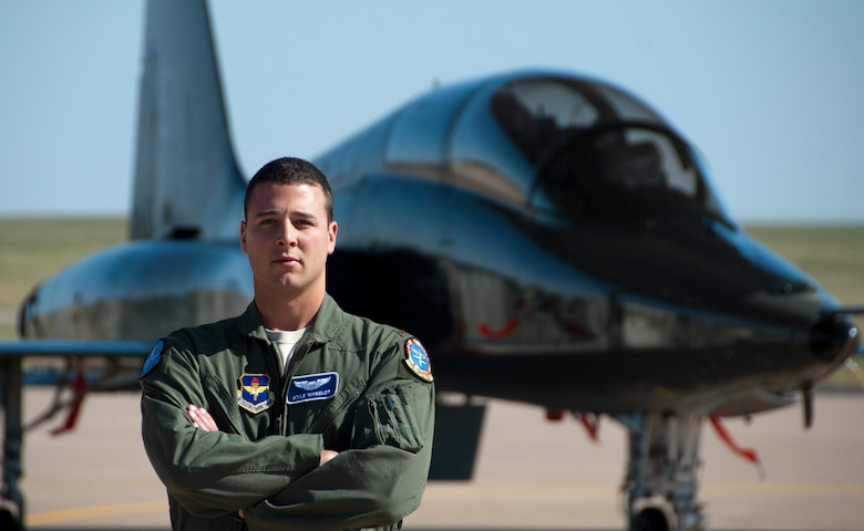 Second Lt. Kyle Wheeler  once prepared weapons for F-15C Eagles as an air munitions maintenance operator. After earning a commission and completing the initial stages of learning to fly, he is now ready to climb into the cockpit and fire the weapons he once loaded. Wheeler is a a Euro-NATO Joint Jet Pilot Training program graduate with the 80th Flying Training Wing, Sheppard Air Force Base, Texas. (U.S. Air Force photo/Airman 1st Class Robert McIlrath)
