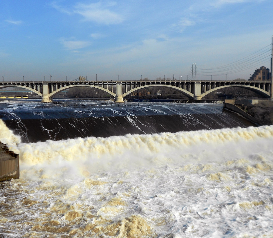 The Mississippi River flows over St. Anthony Falls spillway at 30,000 cfs. File photo from May 2013