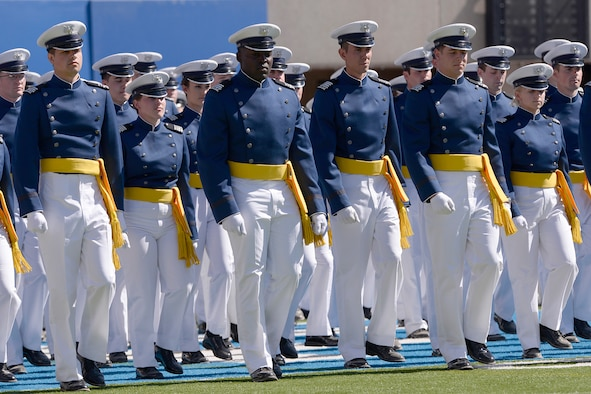 The U.S. Air Force Academy Class of 2014 marches into Falcon Stadium during the commencement ceremony May 28, 2014, in Colorado Springs, Colo. A total of 995 cadets received their commissions and Vice President Joseph R. Biden delivered the commencement address. (U.S. Air Force photo/Mike Kaplan)
