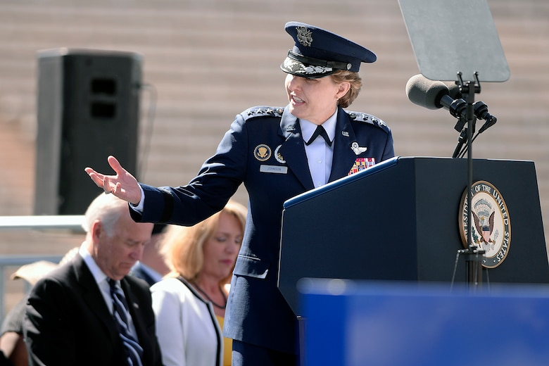 U.S. Air Force Academy Superintendent Lt. Gen. Michelle D. Johnson addresses the graduating Class of 2014 during the commencment ceremony in Colorado Springs, Colo. May 28, 2014. A total of 995 cadets received their commission. (U.S. Air Force photo/Mike Kaplan)