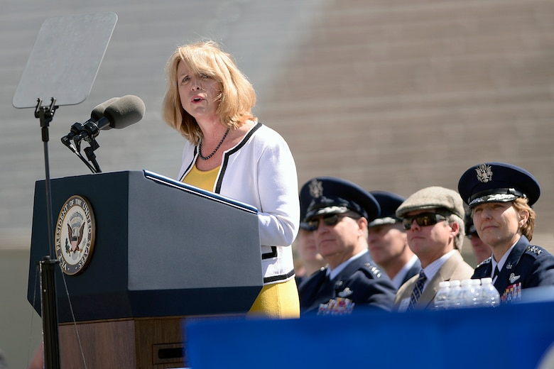Secretary of the Air Force Deborah Lee James addresses the Air Force Academy Class of 2014 during the commencment ceremony in Colorado Springs, Colo. May 28, 2014. (U.S. Air Force photo/Mike Kaplan)